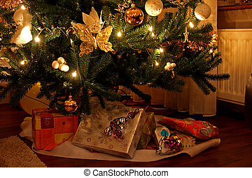 Presents under christmas tree - lots of beautiful presents...