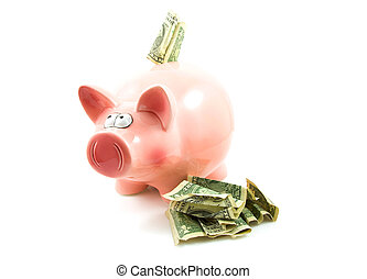 Pink piggy bank with dollar money