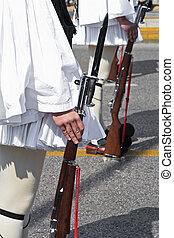 Evzones in parade - Evzones in military parade at Greek...