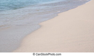Caribbean beach. Closeup. - Waves washup on clean Caribbean...