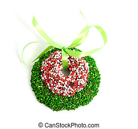 Green and colored speckled christmas candy wreath with bow...