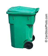 light green trash can - large, green, wheeled trash can on...