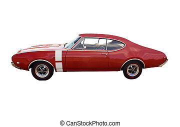 red muscle car - classic red muscle car with white vertical...