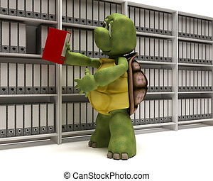 Tortoise filing documents - 3D Render of a Tortoise filing...