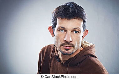 Casual Man Portrait - serious - Casual young man portrait...