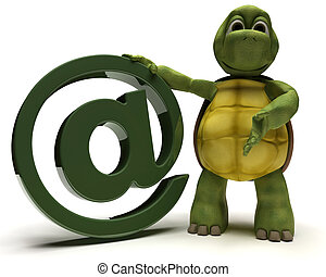 Tortoise with @ symbol - 3D Render of a Tortoise with @...