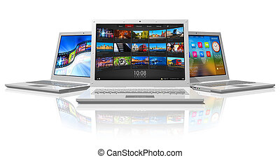 Set of white laptops