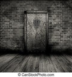 Grunge interior with prison door - Grunge style interior...