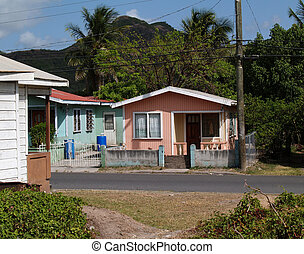 Homes in Antigua Barbuda in the Caribbean Lesser Antilles...