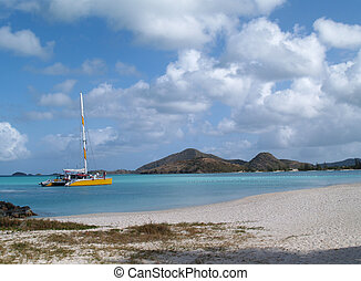 Catamaran off Jolly Beach, Antigua - Catamaran off the coast...