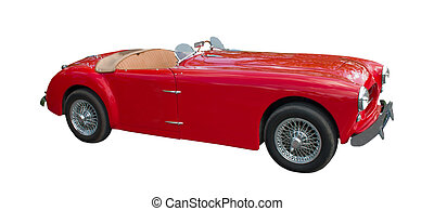 foreign red sportscar isolated on a white background