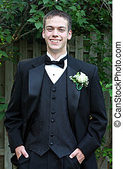 Handsome Prom Teen Vertical - Vertical outdoor portrait of a...