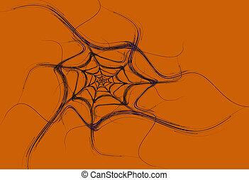 Black Fractal Spider Web on Orange