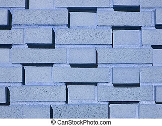 Multi-Layered Blue Brick Wall - A pastel blue multi-layered...