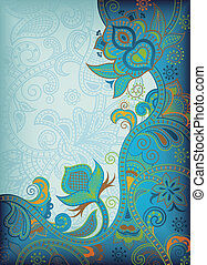 Turquoise Floral Abstract - Illustration of abstract floral...