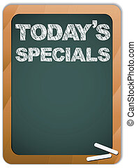 Blackboard with Todays Specials Message written with Chalk -...