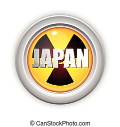 Japan Nuclear Disaster Yellow Button - Vector - Japan...