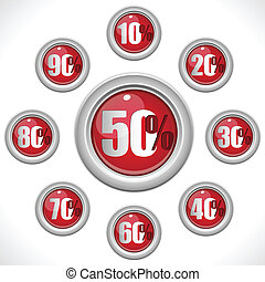 Glossy Red Sale Buttons Percentage Numbers - Vector - Glossy...