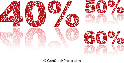 Sale Percentages Written in Red Chalk - Set 2 of 3