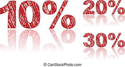 Sale Percentages Written in Red Chalk - Set 1 of 3