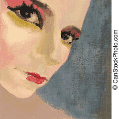 Miss Cabaret - Miss cabaret, vector painting, portrait of a...