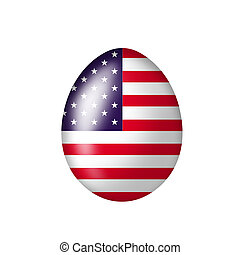 american egg - Easteregg with a american flag on a white...