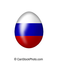 russian egg - Easteregg with a russian flag on a white...