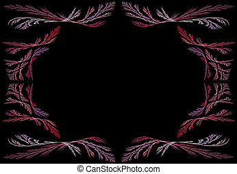 Lavender Fractal Frame With Black - Leafy pink, red and...
