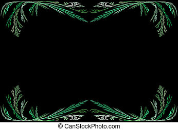 Green Fractal Frame With Black - Leafy green fractal frame...