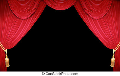 Red curtain of a theater