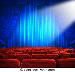 Theatrical release - classic cinema with red seats