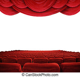 Movie theater with red curtains