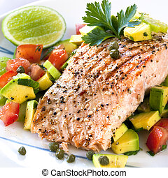 Salmon with Avocado Salsa - Grilled Atlantic salmon with an...
