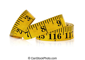 Yellow Tape Measure - Yellow tape measure, isolated on white...