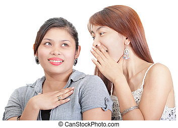 Two girls gossip portrait - Close-up portrait of two Asian...