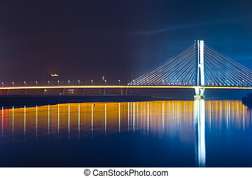 bridge night - the night view of the bridge nanchang jiangxi...
