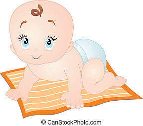 Baby crawling, isolated on white. Vector Illustration.