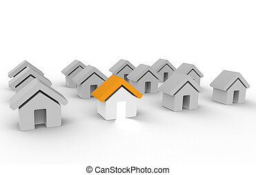 Home. Stand Out From The Crowd - Row of Houses. One with...