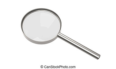 Magnifying glass on white background, Isolated