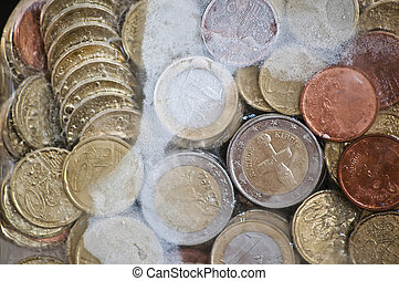 Shiny euro coins frozen in ice - Financial concepts -...
