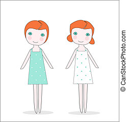 Twin girls or dolls in dresses - Cute illustration of two...