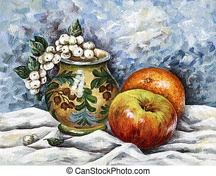 fruit-vases-buckthorn - Picture oil paints on a canvas:...