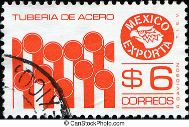 Mexican Exports, Steel tubes - MEXICO - CIRCA 1975: A stamp...