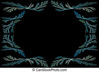 Aqua Fractal Frame With Black Backg - Leafy aqua or teal...