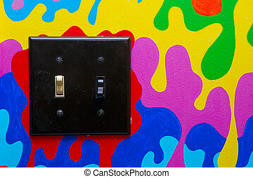 Black Double Light Switch on Painted Wall