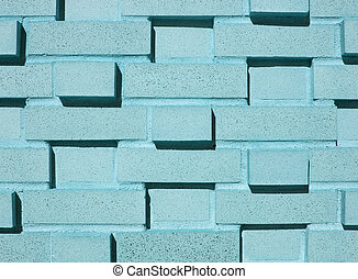 Multi-Layered Aqua Brick Wall - A pastel blue, teal or aqua...