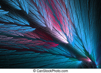 Parrot Feather Fractal in Blue - Pink and blue, or teal or...