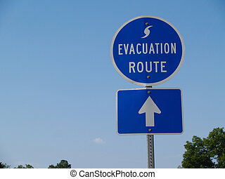 Blue Hurricane Evacuation Route Sig