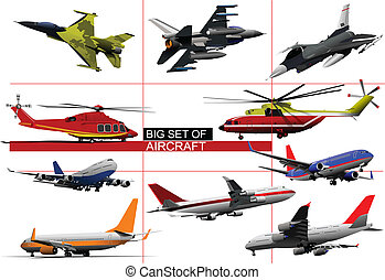 Big set of aircraft. Vector illust
