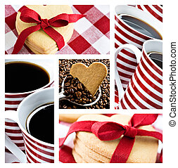 Collage of coffee and heart shaped cookies